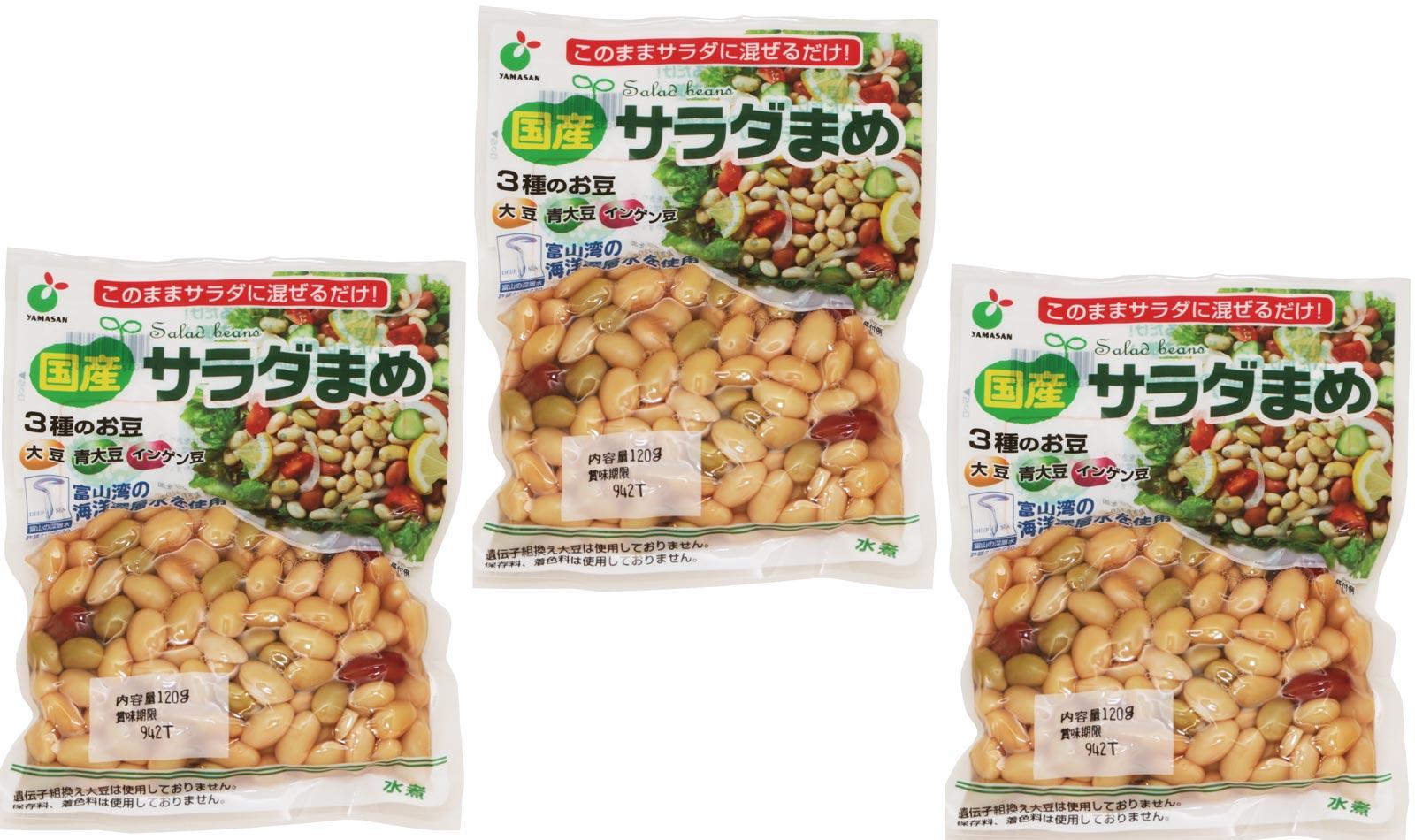 国産 サラダまめ(大豆・青大豆・インゲン豆) 120g×3袋   【国内産 ヤマサン食品工業 大豆水煮 ミックス豆】