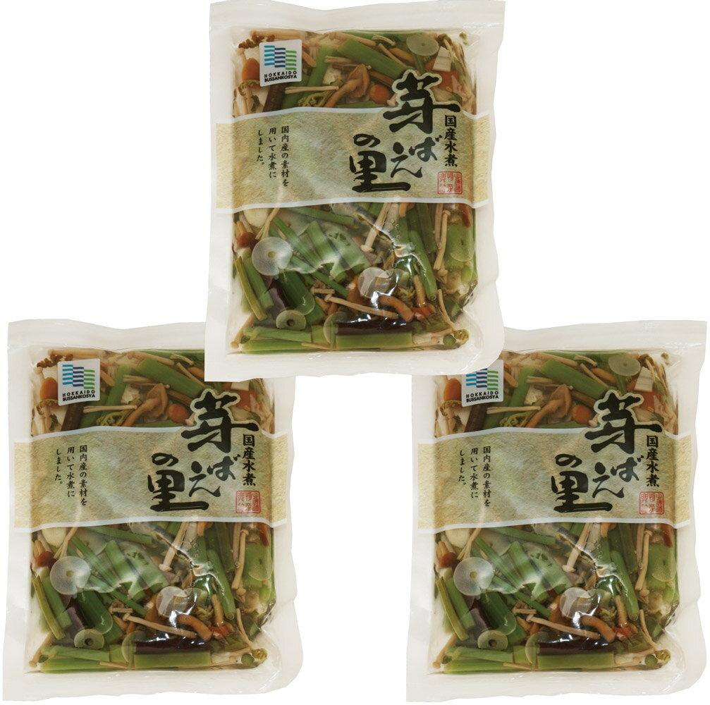 北海道物産のこだわり食材 国産山菜ミックス水煮 110g×3袋    【芽ばえの里 北海道物産興社 国内産 わらび 筍 なめこ えのき 山菜水煮】