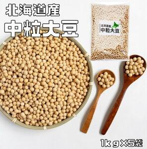 【宅配便送料無料】 大豆 まめやの底力 北海道産 中粒大豆 5kg(1kg×5袋)  【リニューアル だいず、国産 とよまさり】