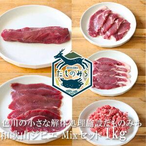 和歌山産 ジビエ 鹿肉・猪肉ミックスセット 1kg(5種類各200g) シカ肉 イノシシ肉 紀州 那智勝浦 色川 だものみち 鹿ロース/ステーキ 鹿モモ肉/スライス 猪肩ロース/スライス 猪ロース/