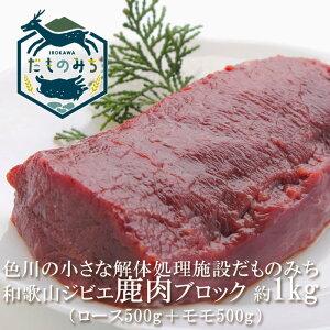 和歌山産 ジビエ 鹿肉ブロック肉セット 1kg(ロース500g+モモ500g) ミンチ200gオマケ付 シカ肉 紀州 那智勝浦 色川 だものみち ロース モモ肉 ミンチ 国産 紀州産 ステーキ 焼き肉 焼肉 バーベ