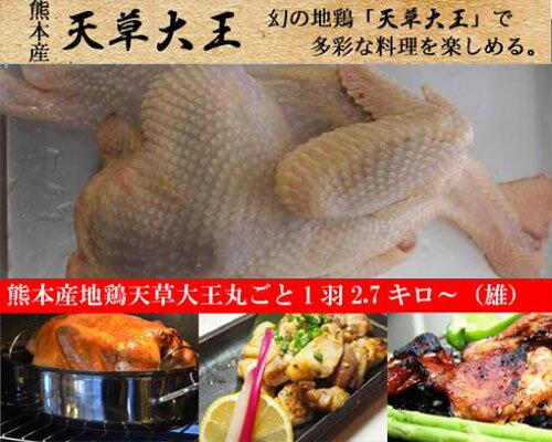 熊本産地鶏天草大王丸ごと1羽2.7キロ〜(雄)