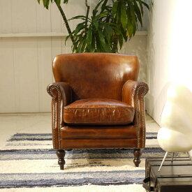 【商品名】Vintage Leather Sofa - 01【サイズ】 幅 69cm 1人掛け 1P ソファー アンティークモダンデザイン鋲飾り ヴィンテージレザー革 レザー 本皮張り椅子アンティーク レザー ラウンジアームソファ本革張り 一人掛け