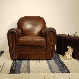 【商品名】Vintage Leather Sofa - 02【サイズ】 幅 88cm 1人掛け 1P ソファー アンティークモダンデザイン鋲飾り ヴィンテージレザー革 レザー 本皮張り椅子アンティーク レザー ラウンジアームソファ本革張り 一人掛け