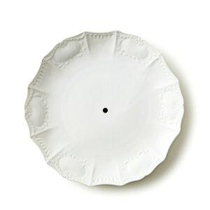 【中央10mm穴あき】キング 27cm プレート (アウトレット含む)日本製 磁器 時計皿用 白磁 穴あり 穴有 ケーキスタンド 皿 プレート 絵付け 時計用 白磁 絵付け後 再焼成可能 白磁 ショップ 販売