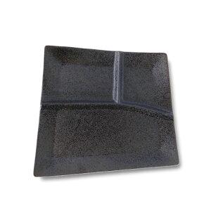 【孝四郎窯 黒結晶】バルサ ランチプレート食器 黒 おしゃれ 日本製 磁器 仕切り皿 おしゃれ 三つ仕切り 皿