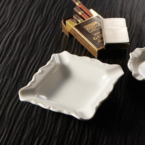 スクエア アッシュトレイ(アウトレット含む)日本製 磁器 灰皿 白 業務用 陶器灰皿 はいざら ハイザラ おしゃれ