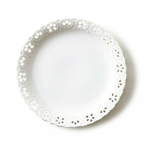 【スーパー アウトレット】フィーノ 25cm 大皿 日本製 磁器 食器 白い食器 透かし皿 大皿 丸皿 白 デザートプレート ポーセリンアート 陶絵付け ホワイト
