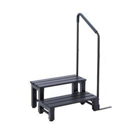 アルミステップ踏み台  2段  片手すり付き ブラウン アルミ縁台 アルミデッキ縁台 ガーデンチェア ガーデンベンチ 縁台 ぬれ縁台 長椅子 椅子 庭 ベランダ ガーデンニング 踏み台 腰掛け(倉出し)