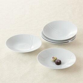 たち吉 彫文 中皿 5枚 セット 桐箱入 947-1102 白い器 おしゃれ 白い食器 和食器 たちきち