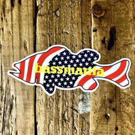 バスマニア(bassmania) USA BASSステッカー スモール 【ネコポス配送可】