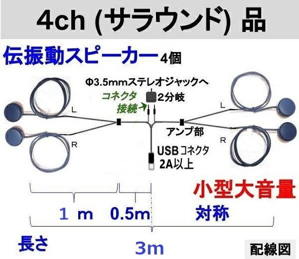 伝振動スピーカー4ch(サラウンド)ステレオプラグ付セット