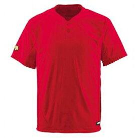 ★ 【DESCENTE】デサント ベースボールシャツ 2ボタン Vネック レッド db-201-red 【メール便対応商品】