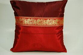 アジアンタイシルククッションカバー(象柄デザイン 赤色Aタイプ)