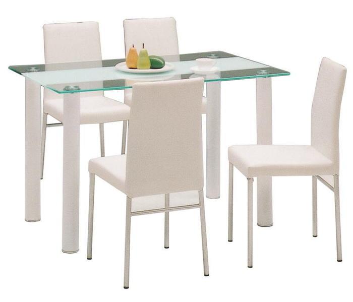 カフェ ガラスリビング ダイニングテーブルセット 5点セット ヴォーグ(ホワイト/白)