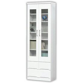 本棚 書棚 薄型 幅60cm ハイタイプ 鏡面 光沢 ホワイト 白 リビング収納 ガラス扉 ワンルーム 引き出し リビング収納 キャビネット モダン 飾り棚 リビングボード コンパクト