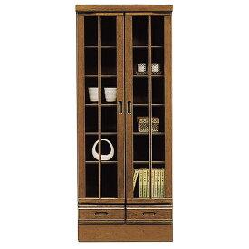 本棚 リビング収納 書棚 完成品 幅60cm キャビネット 飾り棚 木製 ガラス扉付き 開戸 引き出し付き 和風モダン スリム ミドルタイプ 日本製