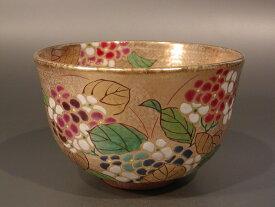 茶道具 抹茶茶碗金砂子 紫陽花、京焼 伝統工芸士 小倉 亨作