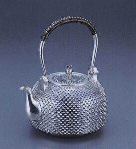 銀製茶器・茶道具純銀製 釜型 霰(あられ)銀瓶大野芳光作