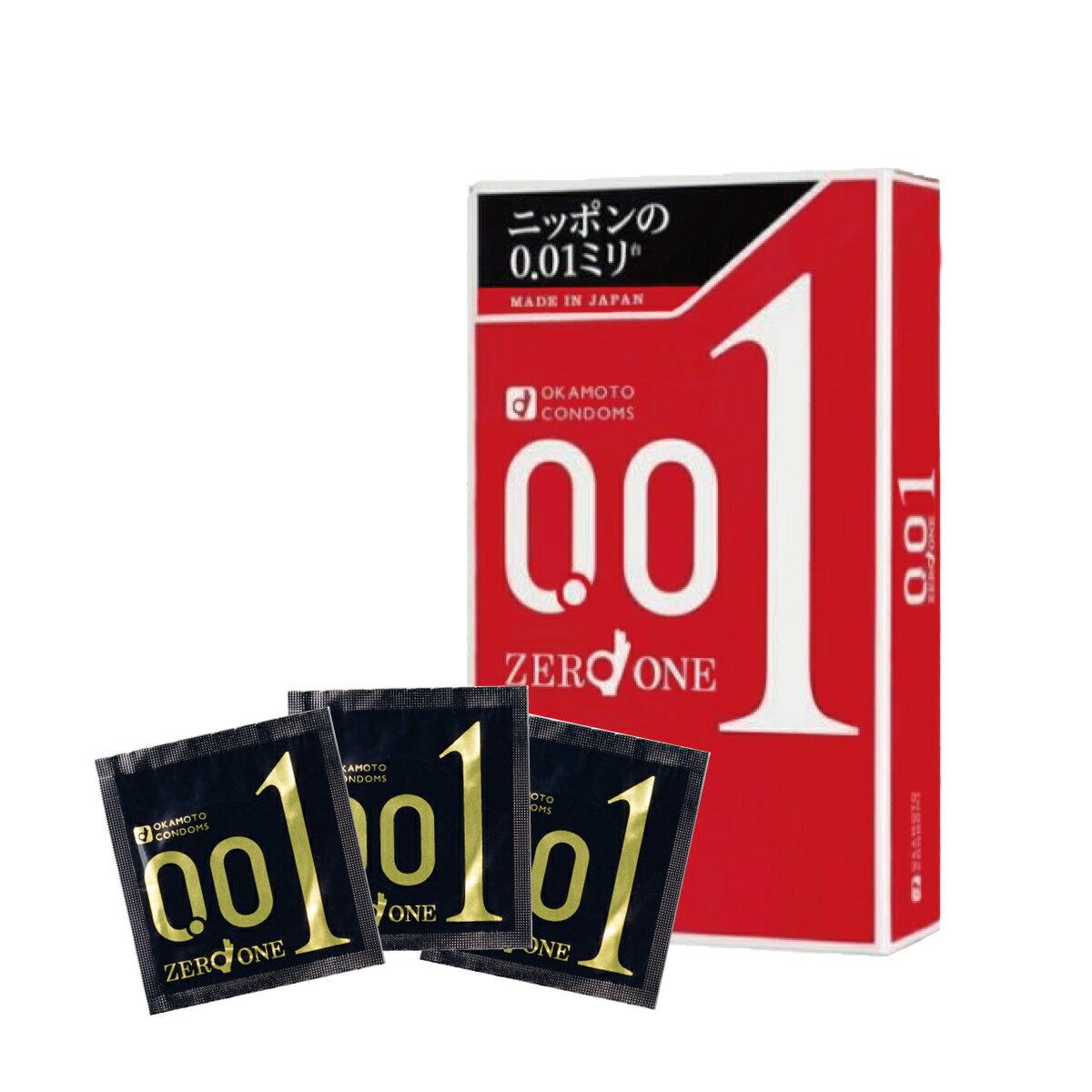 【クリックポストでお届けします】 コンドーム オカモト ゼロワン うすい ゴム 安全 避妊 0.01 3個入り 安全套 避孕套 套套 中身が見えない 何個でも送料無料