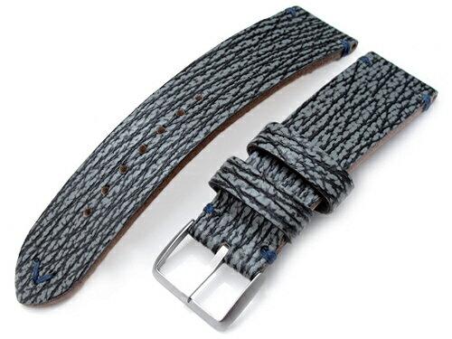 20mm MiLTAT 時計ベルト シャーク グレイッシュブルー / ブルーステッチ