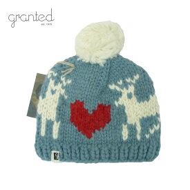 GRANTED グランテッド KNIT CAP DEER LOVE HAT メンズ/レディース カントリーブルー FREE[ニット帽 ウールキャップ キャップ 帽子 ポンポン 鹿 シカ ハート ウール ニット カナダ製 ブランド アメカジ アウトドア 水色]