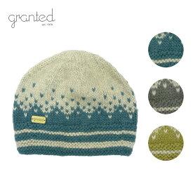 GRANTED グランテッド KNIT CAP FREE MOTIF HAT メンズ/レディース ブルー/グレー/グリーン FREE[ニット帽 ウールキャップ キャップ 帽子 ウール ニット カナダ製 ブランド アメカジ アウトドア 青 灰色 緑]