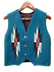 CENTINELA インディアン チマヨベスト メンズ ターコイズ 32-38 XS-L[ベスト センチネラ オルテガ ウール 手織り ハンドメイド チマヨ織り ネイティブ 天然染め ブルー ブランド アメカジ]