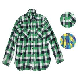 BACK HEAD バックヘッド ライトネルワークシャツ メンズ グリーン/イエロー S-L[ネルシャツ シャツ チェックシャツ ワークシャツ カジュアル ブランド アメカジ アメカジファッション 緑 黄色]