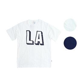 BACK HEAD バックヘッド STAMP POCKET TEE LA メンズ/レディース ホワイト/ネイビー S-L[Tシャツ 半袖 ロサンゼルス ロゴ ポケット ポケT ポケットTシャツ カットソー アメカジ ブランド 白 紺]