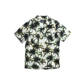 BACK HEAD バックヘッド ALOHA SHIRTS メンズ ホワイト M-L[アロハシャツ シャツ 半袖 日本製 パームツリー ヤシの木 ヤシ 柄 ブランド アメカジ サーフ アメカジファッション]