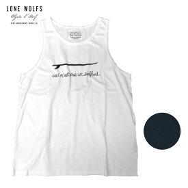 LONE WOLFS ローンウルフズ プリントタンクトップ メンズ ブラック/ホワイト S-L[タンクトップ プリント ロゴ サーフボード ボード アメリカ USA おしゃれ ブランド サーフ サーフブランド 黒 白]