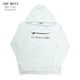 LONE WOLFS ローンウルフズ SWEAT HOODIE BORD メンズ/レディース ホワイト S-L[パーカー プルオーバーパーカー スウェットパーカー フィン アメリカ カリフォルニア おしゃれ ブランド アメカジ サーフ 白]
