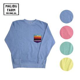MALIBU FARM マリブファーム RUG POCKET PIGMENT SWEAT メンズ/レディース ブルー/レッド/グリーン/イエロー M-L[トレーナー スウェットトレーナー ラグ素材 スウェット ポケット 胸ポケット ネイティブアメリカン ロゴ ワッペン ブランド サーフ 青 赤 緑 黄色]