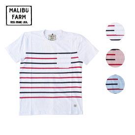 MALIBU FARM マリブファーム BORDER TEE メンズ/レディース ホワイト/ピンク/サックスブルー S-L[Tシャツ 半袖 ボーダー ポケットTシャツ ポケT ポケット カットソー カジュアル ブランド アメカジ サーフ サーフブランド 白 青]