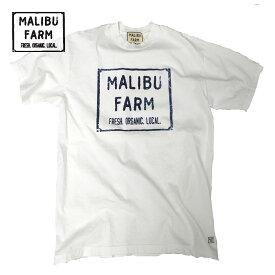 MALIBU FARM マリブファーム ロゴプリントT メンズ/レディース ホワイト S-L[Tシャツ 半袖 ロゴ ブランドロゴ プリント カットソー アメリカ製 アメリカ USA カジュアル おしゃれ ブランド アメカジ サーフ サーフブランド 白]