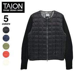 TAION(タイオン)クルーネックWジップニットスリーブダウンジャケット BASIC LINE 2020aw メンズ (TAION-105SNM)