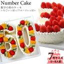 誕生日に大人気 記念の数字を形にしました。【ナンバーケーキ】7号サイズ フルーツ or いちご記念日 バースデーケー…