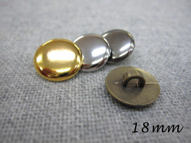 薄型タイプのメタルボタン(金属調・4色展開)18mm×1個【手芸 ハンドメイド】