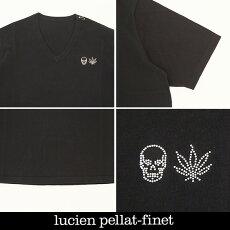 LucienPellat-finet(ルシアンペラフィネ)ワンポイントコットンVネック半袖セーター