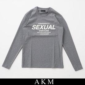 AKM(エイケイエム)ロングTシャツ長袖TシャツグレーSX071/SJ01 95【AKM L/S TEE PHOSPHORESCENT】