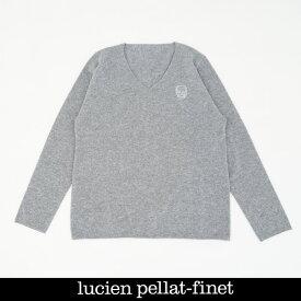 Lucien Pellat-finet(ルシアンペラフィネ)ワンポイントカシミアVネックセーターグレーNB90H(213 85310)
