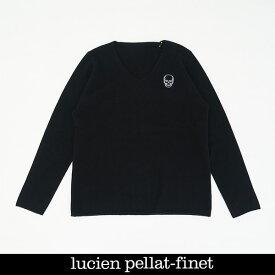 Lucien Pellat-finet(ルシアンペラフィネ)ワンポイントカシミアVネックセーターブラックNB90H(213 85310)
