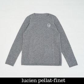 Lucien Pellat-finet(ルシアンペラフィネ)ワンポイントカシミアセーターグレーNB91H(213 85311)