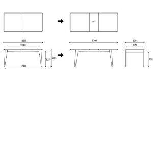 ダイニングテーブルEDDADT30104Q−EL000【北欧デザイン】【オイル仕上げ】【伸長式】