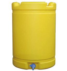 【国産】NEW 水タンク(黄) (直径)580mm(高さ)835mm 容量 約200リットル コック付き 貯水器(多用途・雨水タンクにも)