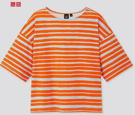 【2020夏最新コラボ】日本未上陸コラボ商品UNIQLO × Marimekkoユニクロ×マリメッコTシャツボーダーオレンジ