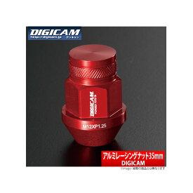【デジキャン DIGICAM】ホンダ N-VAN 等にお勧め 鍛造アルミナット19HEX 袋ナット P1.5 16個セット(4穴車・1台分) 35mm / レッド 型式等:JJ1/2 品番:AN6F3515RE-DC16