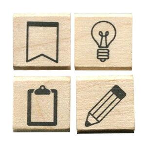 こどものかお 手帳 はんこ部 4Pセット 旗・電球・クリップボード・鉛筆 0409-006