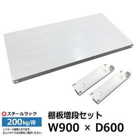 【クーポンあり】スチールラック 部材 200kg/段モデル用 [棚追加] 棚板セット 90cm×60cm(棚受け2本付き)